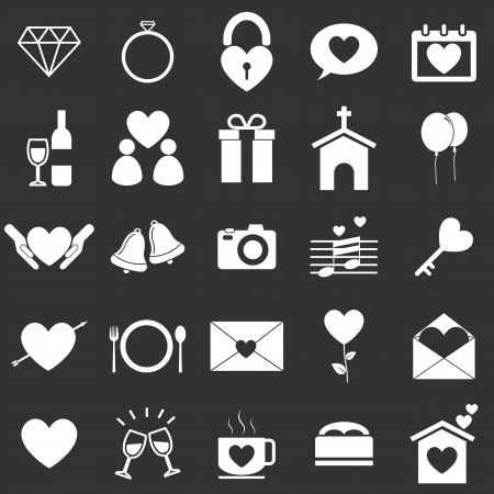 Wedding icons on black background, stock vector Vector