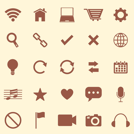 Web color icons on brown background, stock vector