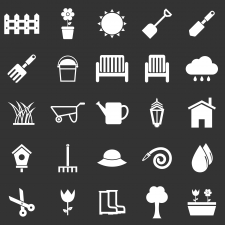 Gardening icons on black background, stock vector