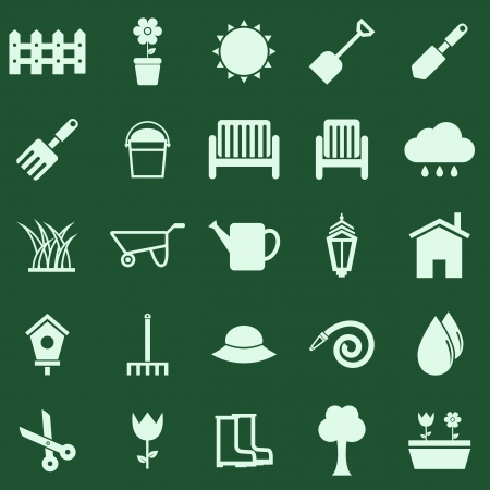 gardening hoses: Gardening color icons on green background, stock vector