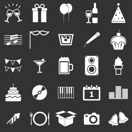 New Year icons on black background, stock vector Illustration