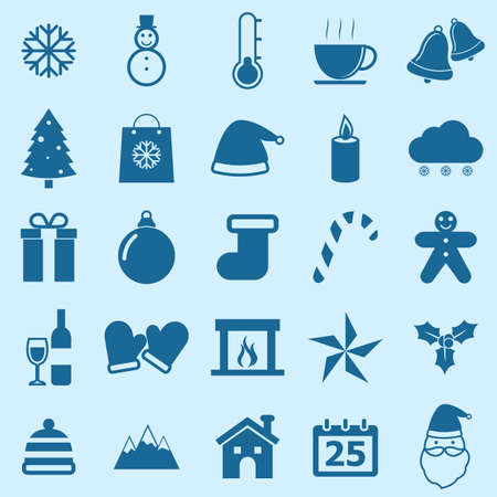 Winter color icons on blue background, stock vector Vector