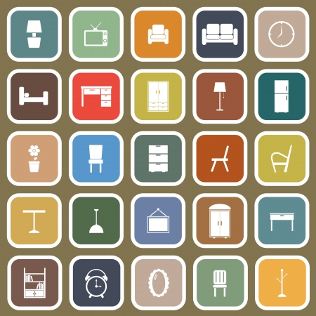 Furniture flat icons on brown background Illustration