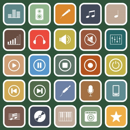 Music flat icons on green background Stock Vector - 23645416