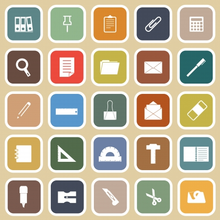 hilight: Stationary flat icons on yellow background, stock vector