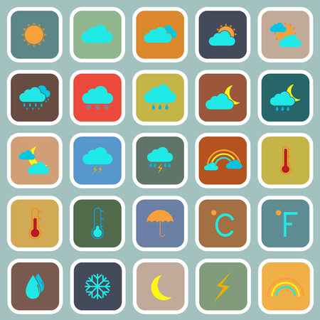 Weather flat color icons on blue background Vector