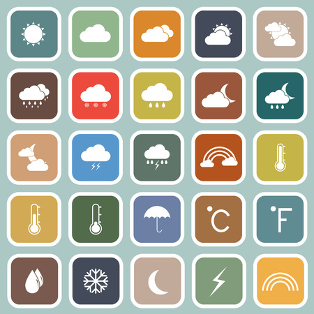 Weather flat icons on blue background Vector