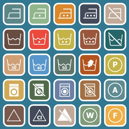 Laundry flat icons on blue background Vector