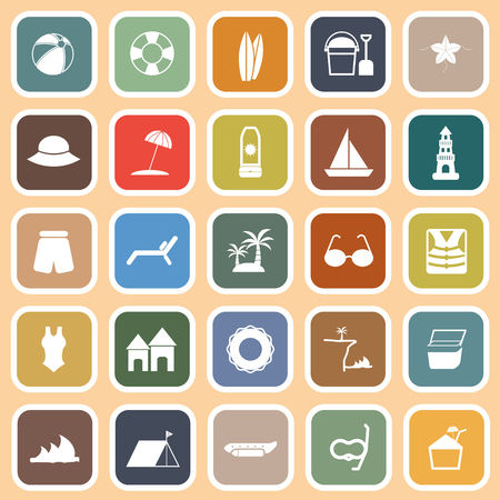 Beach flat icons on orange , stock vector Vector