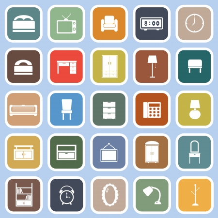 Bedroom flat icons on blue , stock vector Illustration