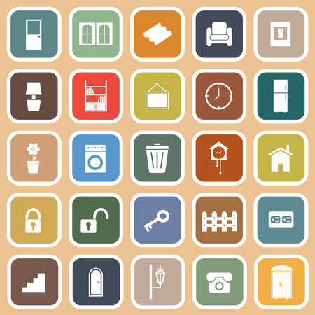 House related flat icons on orange, stock vector Vector