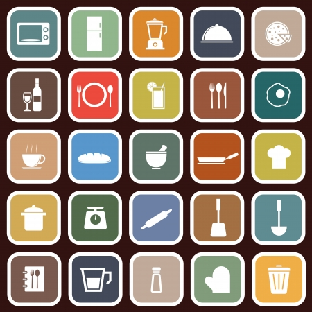 Kitchen flat icons on red , stock vector