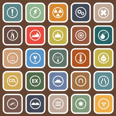 Warning flat icons on brown , stock vector Stock Vector - 23827088