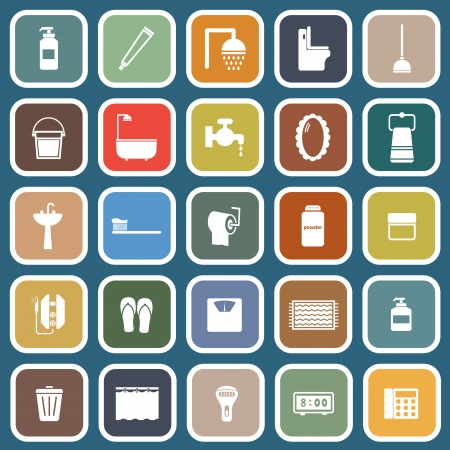 Bathroom flat icons on blue , stock vector Illustration
