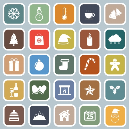 Winter flat icons on blue background, stock vector
