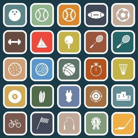 Sport flat icons on blue background, stock vector Vector