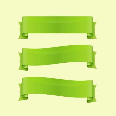 sleek: Set of green sleek web ribbon, stock vector