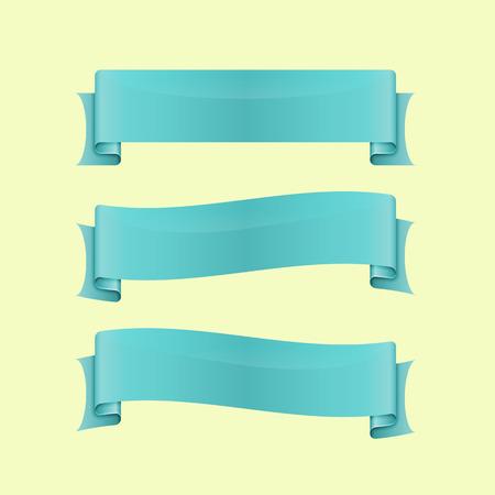 sleek: Set of blue sleek web ribbon, stock vector
