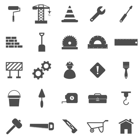Construction icons on white background, stock vector Illustration
