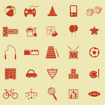 Toy color icons on yellow background, stock vector  Illustration