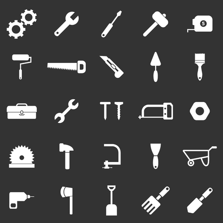 nipper: Tool icons on black background, stock vector Illustration
