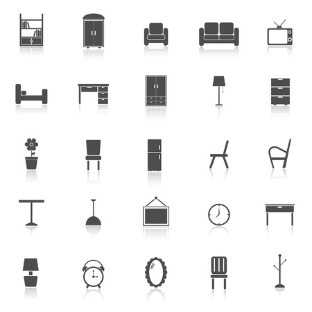 furniture: Furniture icons with reflect on white Illustration