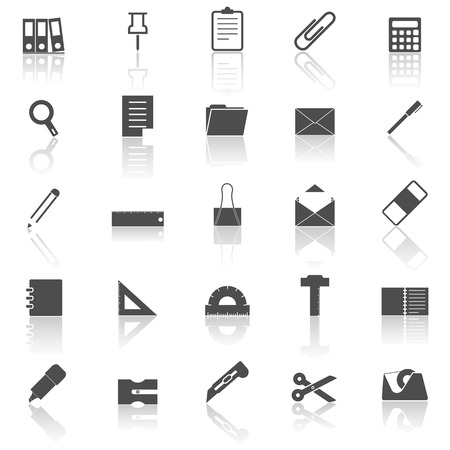hilight: Stationary icons with reflect on white background, stock vector