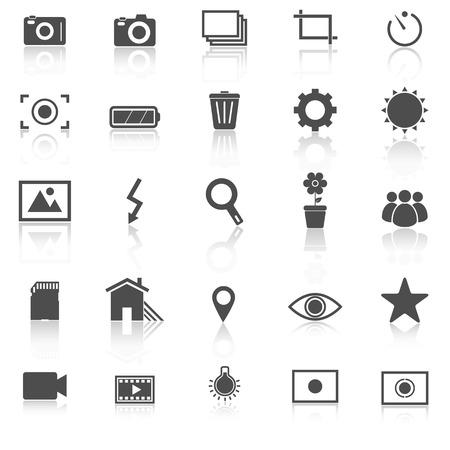 partial: Iconos Fotograf�a con reflexionar sobre fondo blanco, stock vector