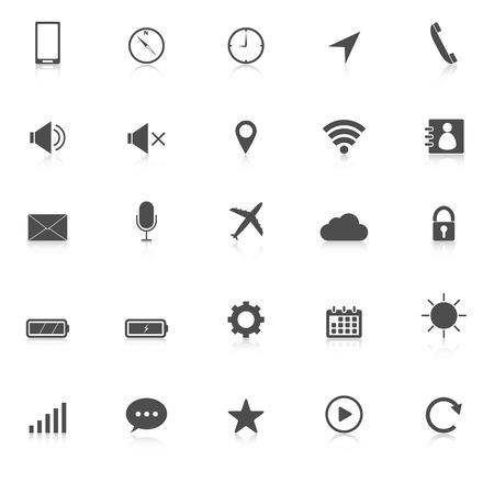 株式ベクトル白い背景の上に携帯電話アイコンを反映します。  イラスト・ベクター素材