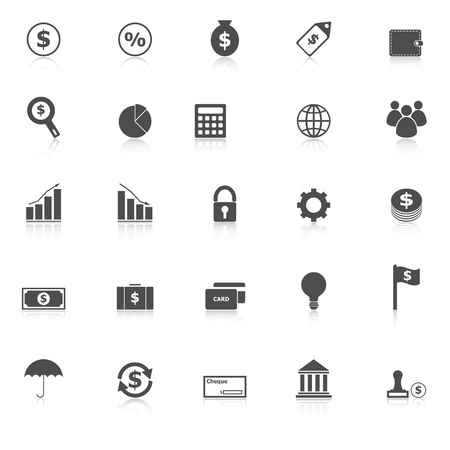 sign simplicity: Finance icons with reflect
