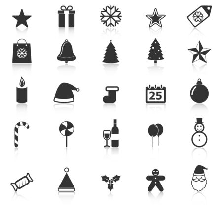 Christmas icons with reflect on white background, stock vector Vector