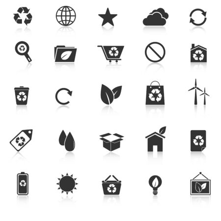 Ecology icons with reflect on white background, stock vector Illustration