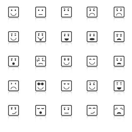 株式ベクトル白い背景の上に四角い顔アイコンを反映します。