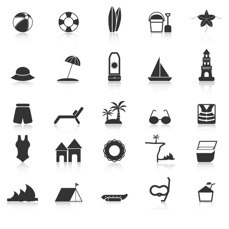 sun block: Beach icons with reflect on white background, stock vector