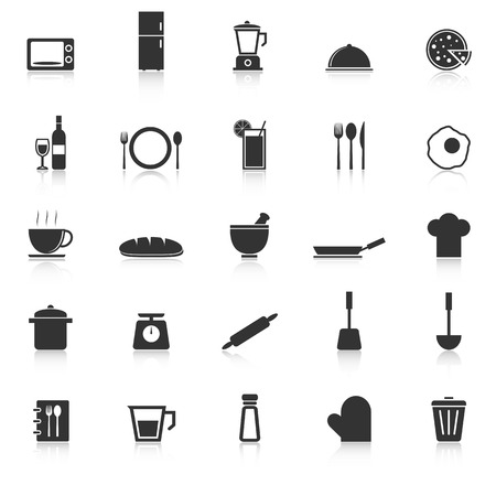 continental food: Kitchen icons with reflect on white background, stock vector