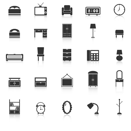 Bedroom icons with reflect on white background, stock vector
