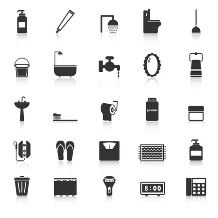 powder room: Bathroom icons with reflect on white background, stock vector