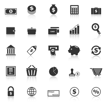 Money icons with reflect on white background, stock vector Illustration