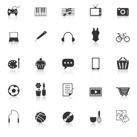 Hobby icons with reflect on white background, stock vector Illustration