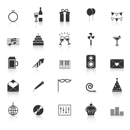 reflect: Celebration icons with reflect on white background, stock vector