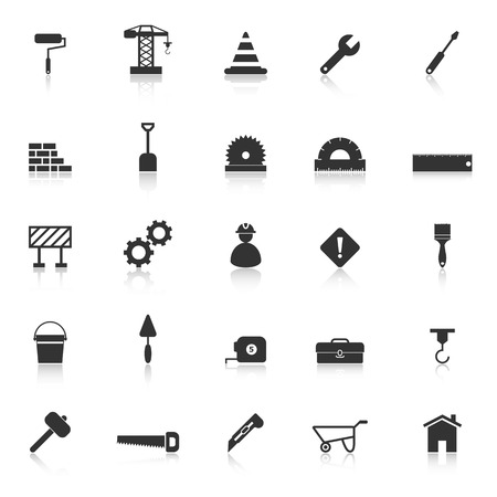 construction vehicle: Construction icons with reflect on white background, stock vector