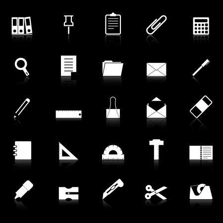 hilight: Stationary icons with reflect on black background, stock vector Illustration