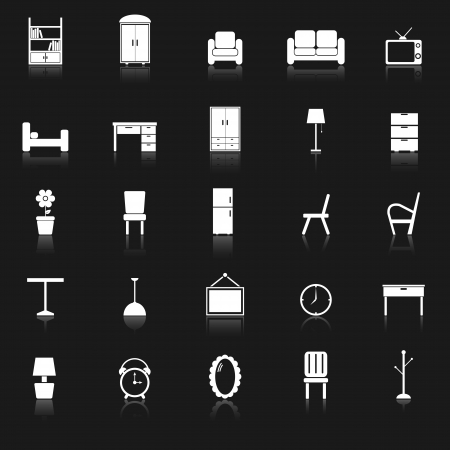 Furniture icons with reflect on black background, stock vector Illustration