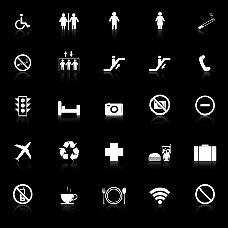 Plublic icons with reflect on black background, stock vector Vector