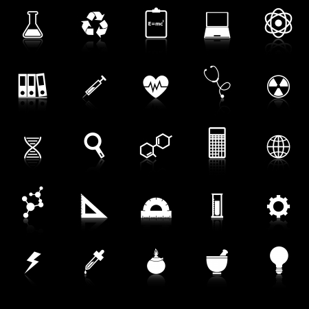 neutrons: Science icons with reflect on black background, stock vector