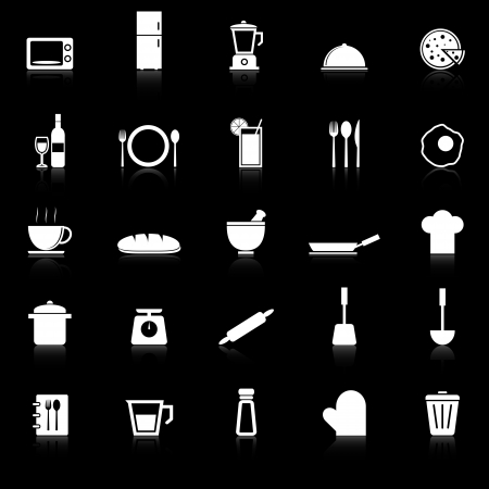 continental food: Kitchen icons with reflect on black background, stock vector