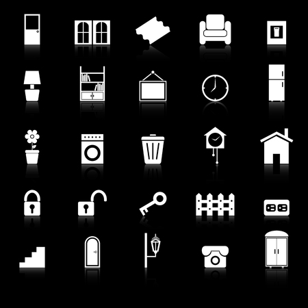 House related icons with reflect on black background, stock vector Vector