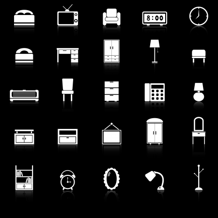 Bedroom icons with reflect on black background, stock vector
