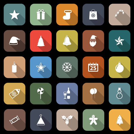 Christmas flat icons with long shadow, stock vector