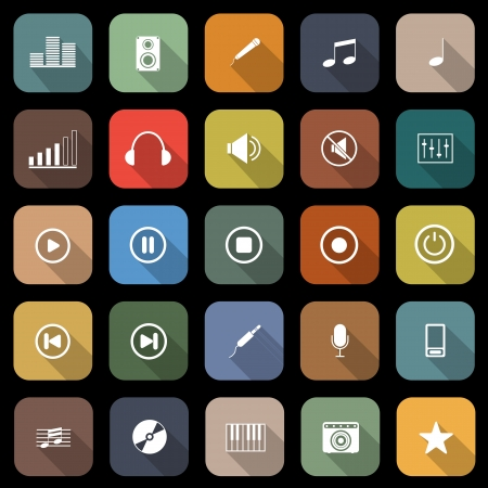Music flat icons with long shadow, stock